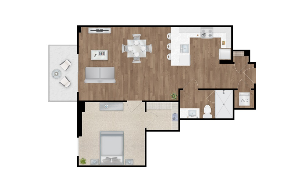 1-B - 1 bedroom floorplan layout with 1 bath and 717 square feet.