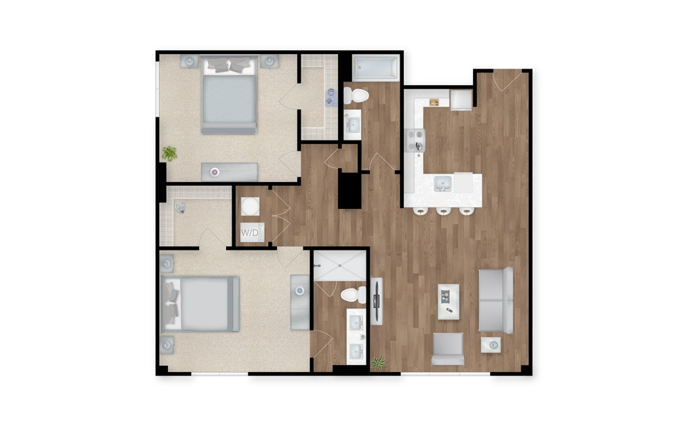 1 - 2 bedroom floorplan layout with 2 baths and 1310 square feet.