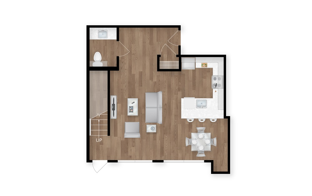 1.1 - 2 bedroom floorplan layout with 2.5 baths and 1514 square feet. (Floor 1)