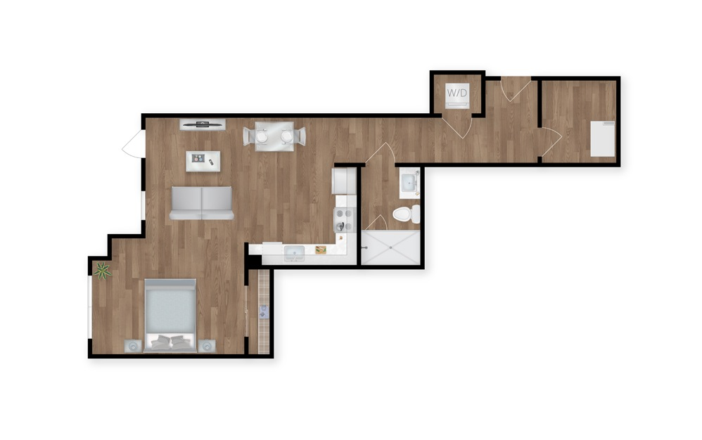 10 - 1 bedroom floorplan layout with 1 bath and 693 square feet.