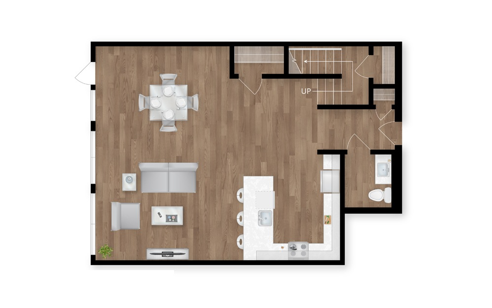11.1 - 2 bedroom floorplan layout with 2.5 baths and 1831 square feet. (Floor 1)