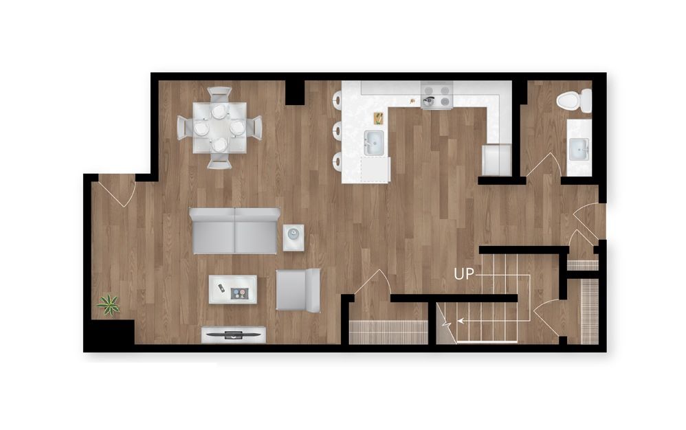 12.1 - 2 bedroom floorplan layout with 2.5 baths and 1537 square feet. (Floor 1)