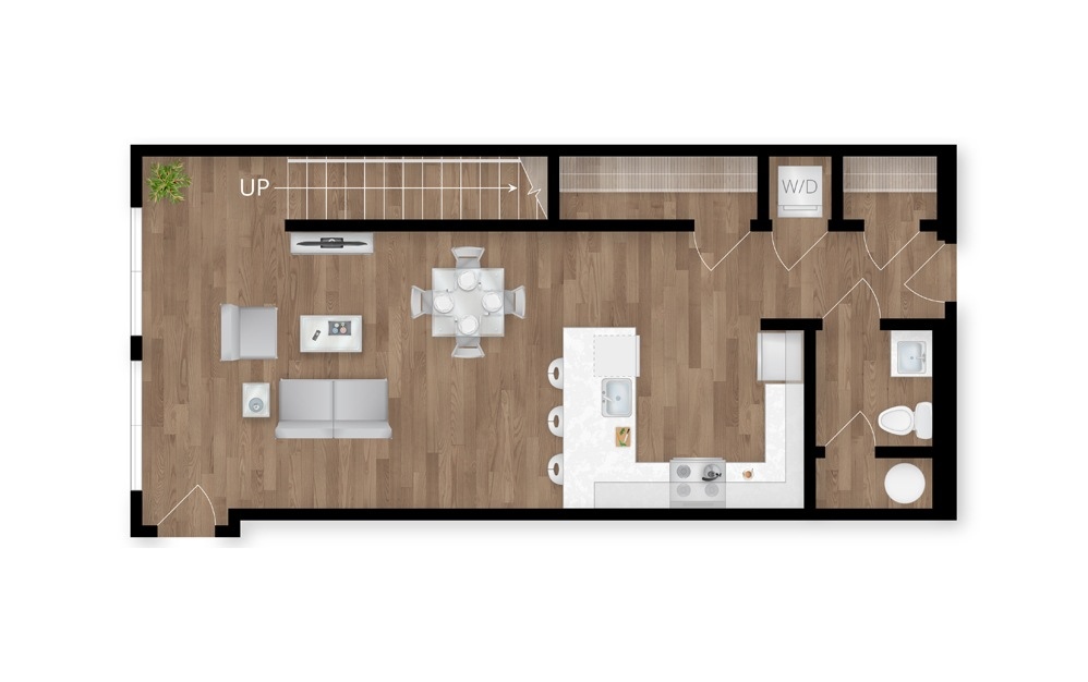 13.1 - 2 bedroom floorplan layout with 2.5 baths and 1439 square feet. (Floor 1)