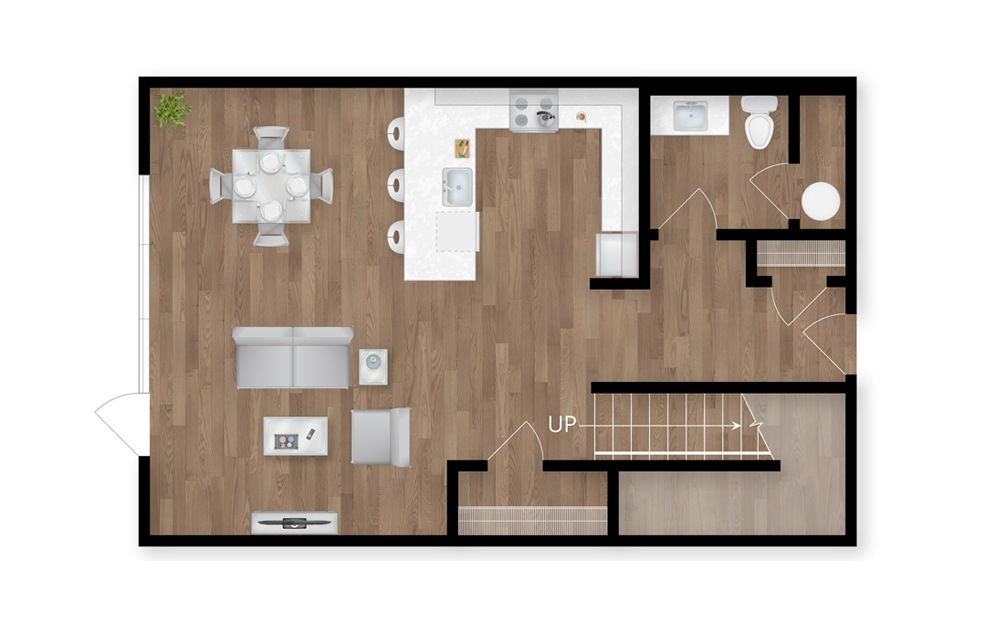 14.1 - 2 bedroom floorplan layout with 2.5 baths and 1618 square feet. (Floor 1)