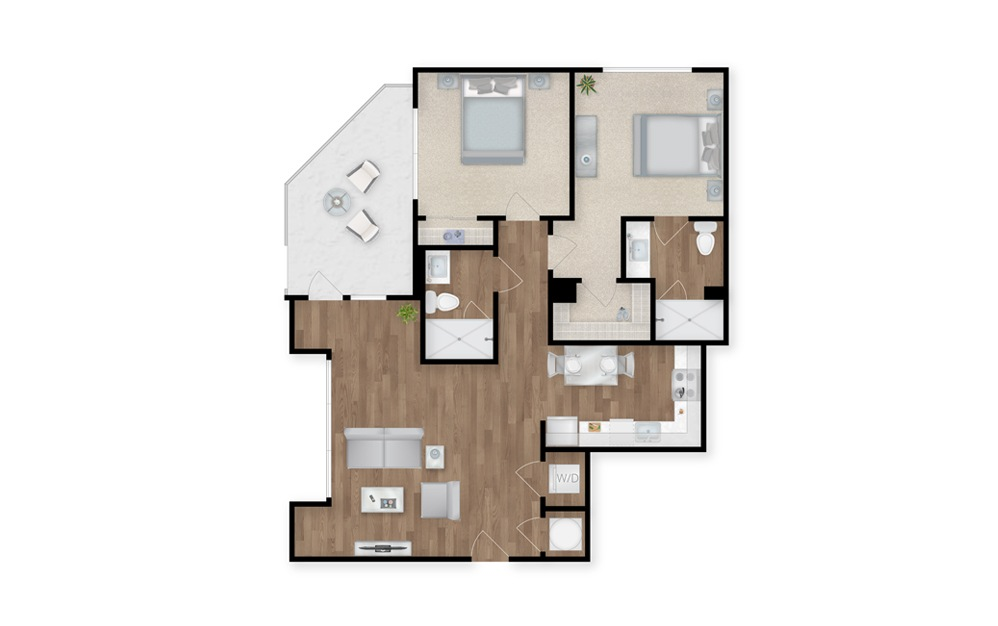 17 - 2 bedroom floorplan layout with 2 baths and 1044 square feet.