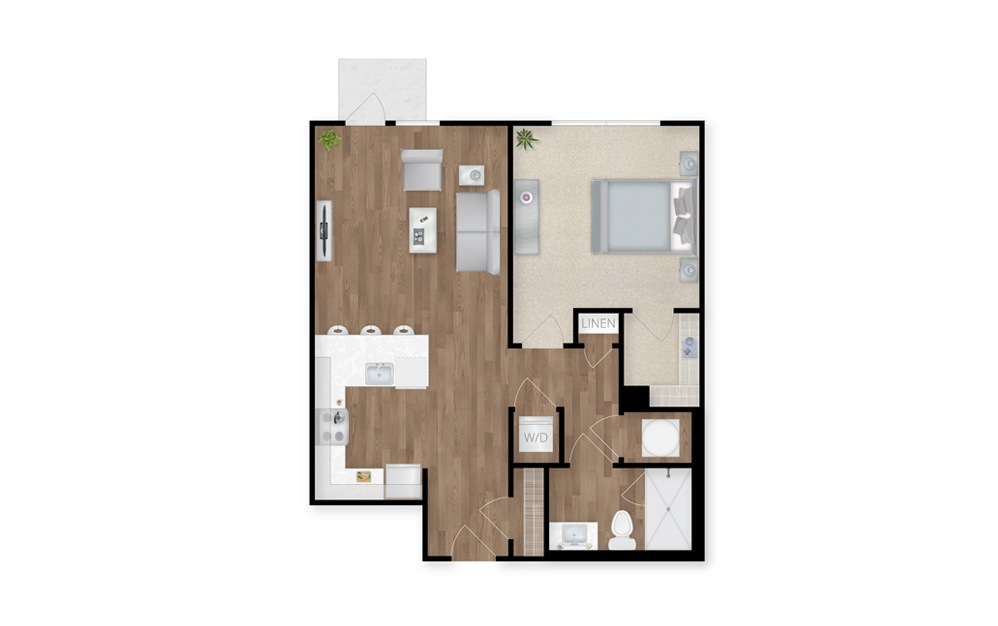18 - 1 bedroom floorplan layout with 1 bath and 731 square feet.