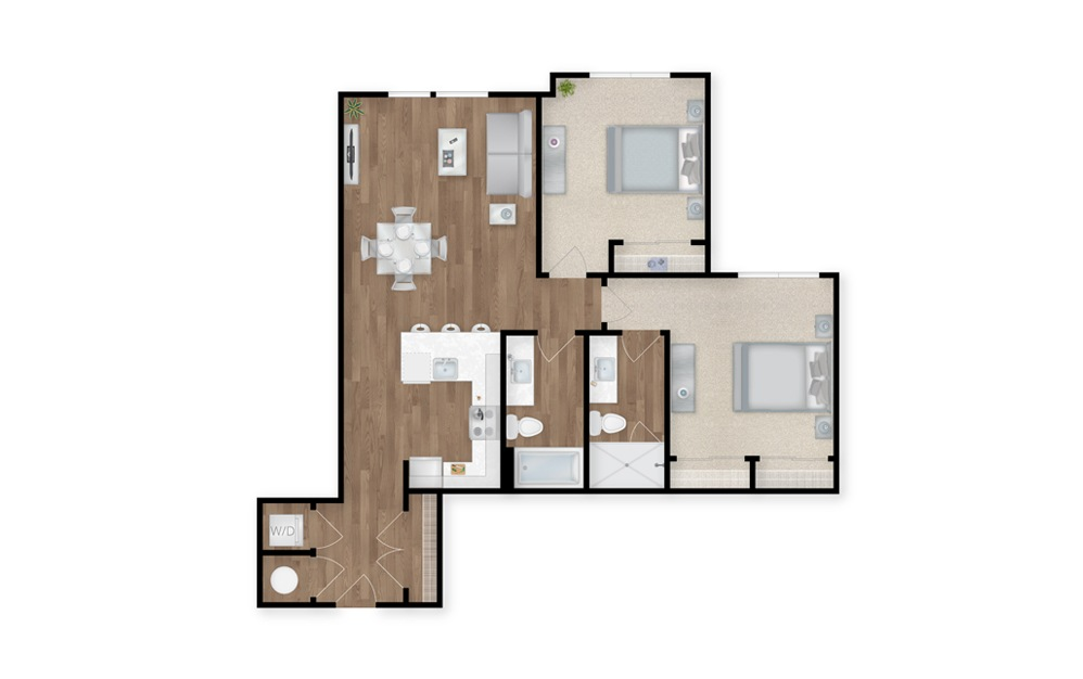 19 - 2 bedroom floorplan layout with 2 baths and 1065 square feet.
