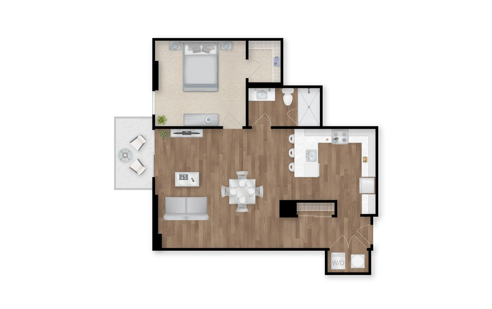 2 - 1 bedroom floorplan layout with 1 bath and 914 square feet.