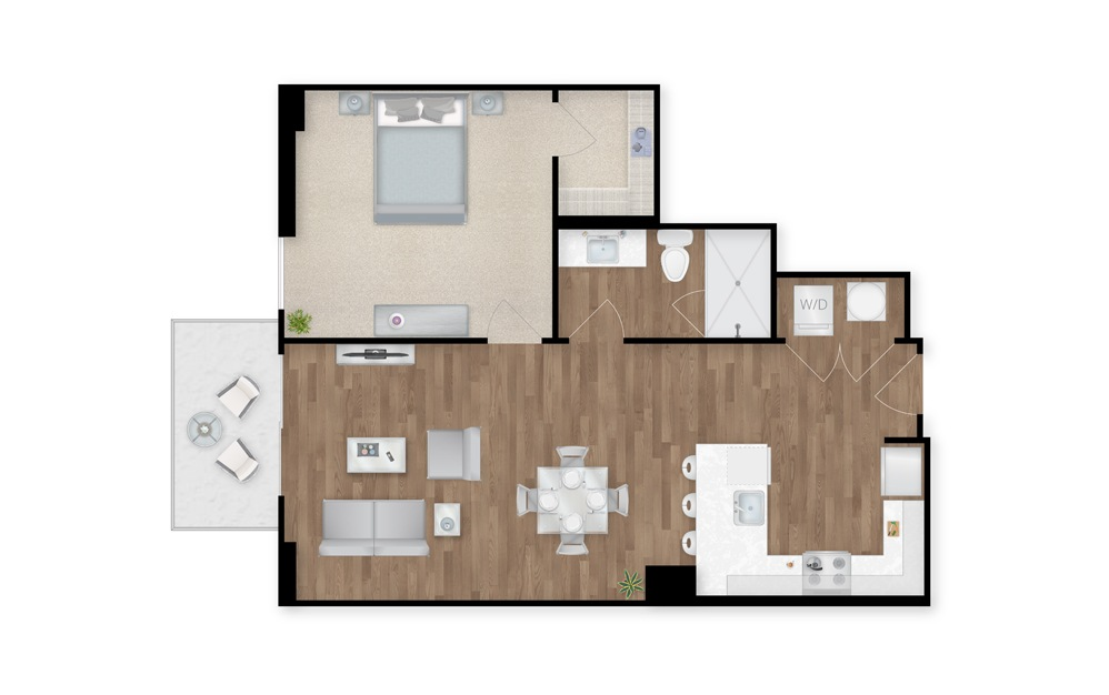 2-B - 1 bedroom floorplan layout with 1 bath and 733 square feet.