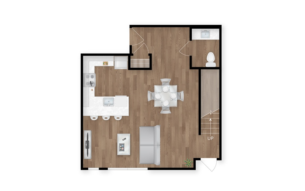 2.1 - 2 bedroom floorplan layout with 2.5 baths and 1571 square feet. (Floor 1)