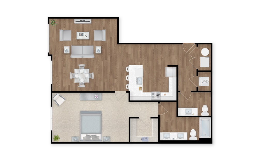 20 - 1 bedroom floorplan layout with 1.5 bath and 1128 square feet.