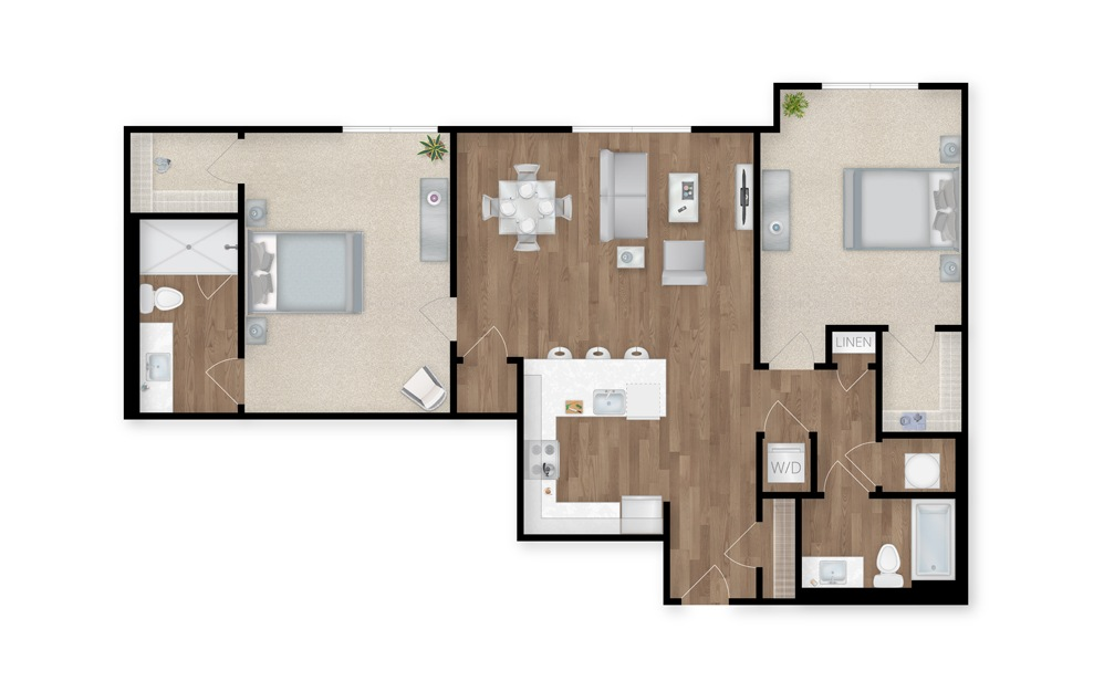 22 - 2 bedroom floorplan layout with 2 baths and 1221 square feet.