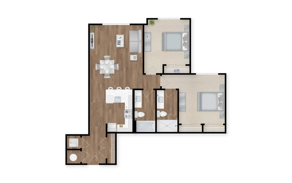 23 - 2 bedroom floorplan layout with 2 baths and 1075 square feet.