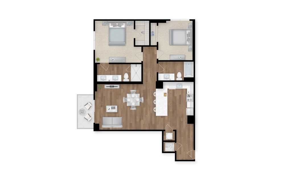 3-B - 2 bedroom floorplan layout with 2 baths and 1163 square feet.