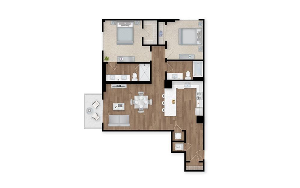 3 - 2 bedroom floorplan layout with 2 baths and 1176 square feet.