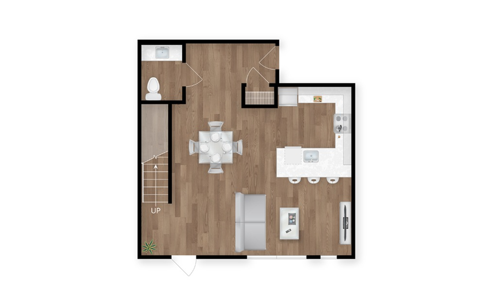 3.1 - 2 bedroom floorplan layout with 2.5 baths and 1630 square feet. (Floor 1)
