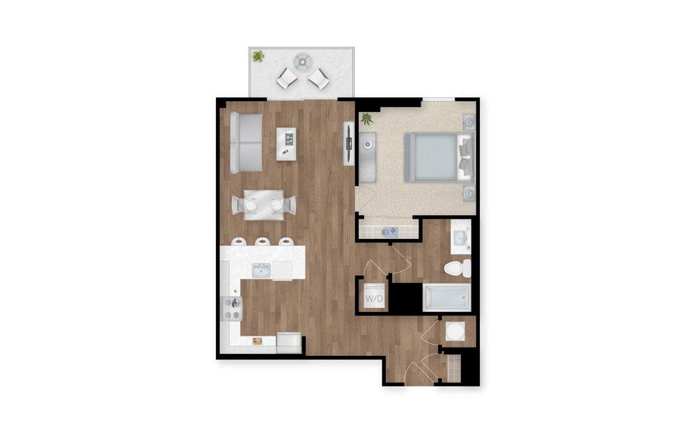 4 - 1 bedroom floorplan layout with 1 bath and 723 square feet.