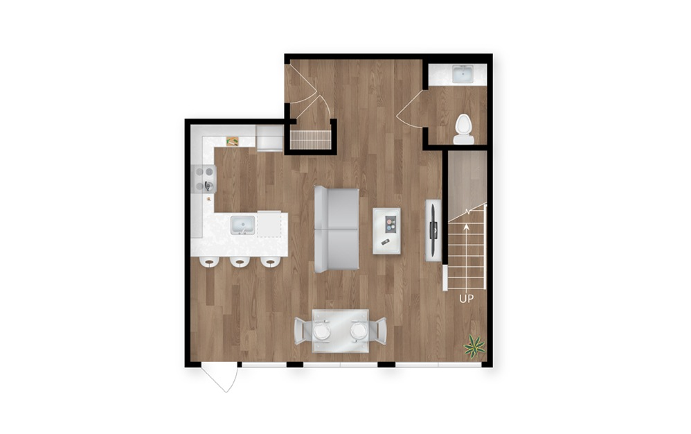4.1 - 2 bedroom floorplan layout with 2.5 baths and 1614 square feet. (Floor 1)