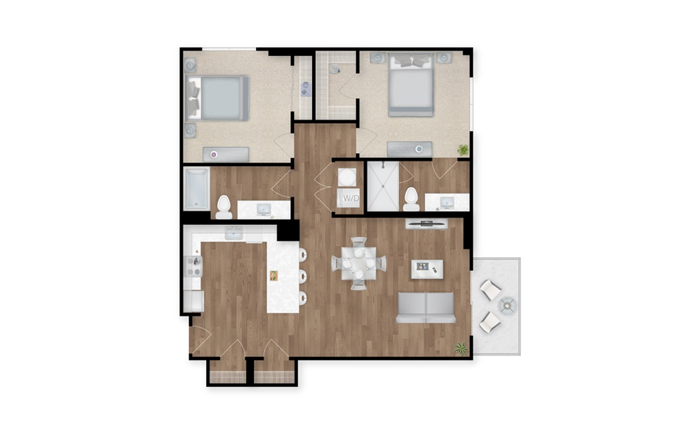 5 - 2 bedroom floorplan layout with 2 baths and 1139 square feet.