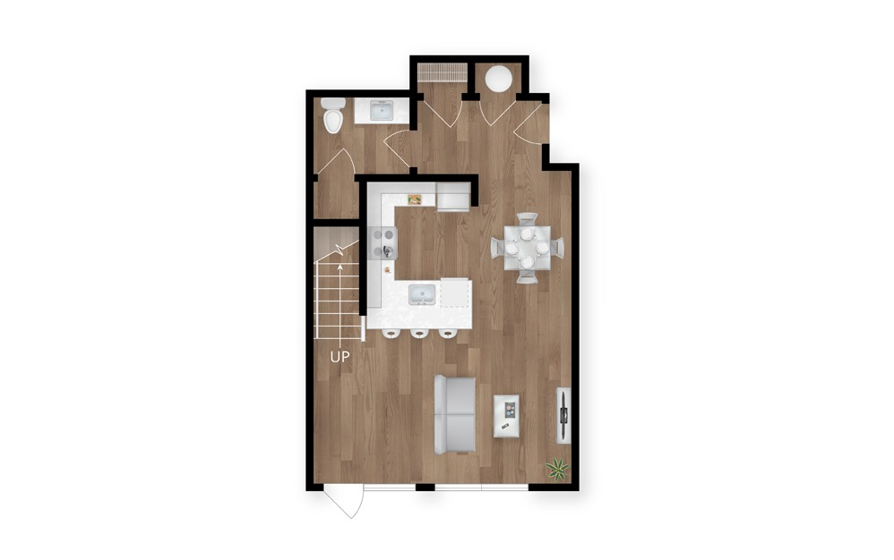 5.1 - 3 bedroom floorplan layout with 3.5 baths and 1919 square feet. (Floor 1)
