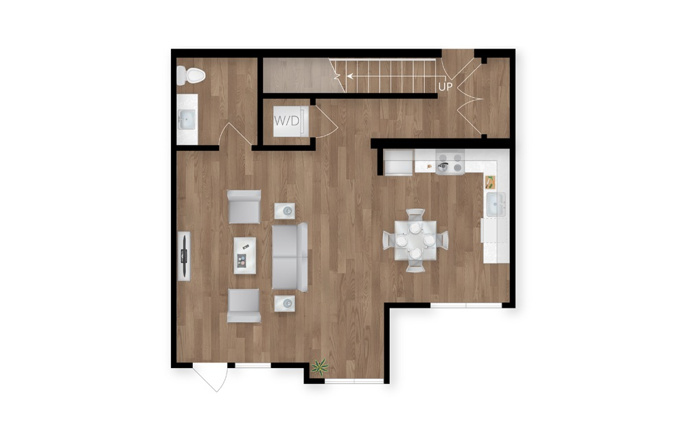 6.1 - 2 bedroom floorplan layout with 2.5 baths and 1430 square feet. (Floor 1)