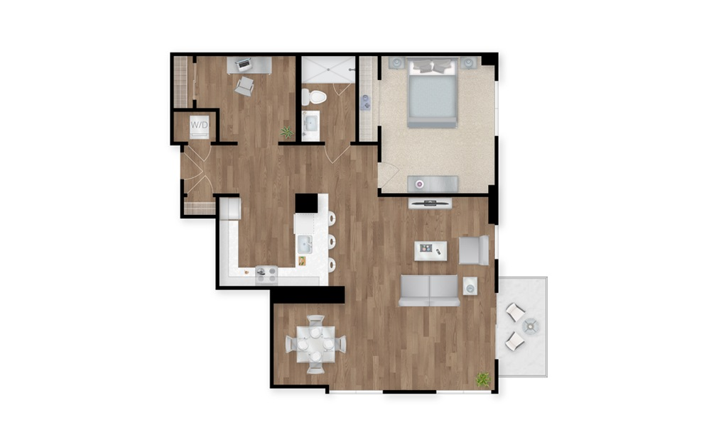 7 - 1 bedroom floorplan layout with 1 bath and 1117 square feet.