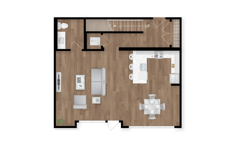 7.1 - 2 bedroom floorplan layout with 2.5 baths and 1723 square feet. (Floor 1)