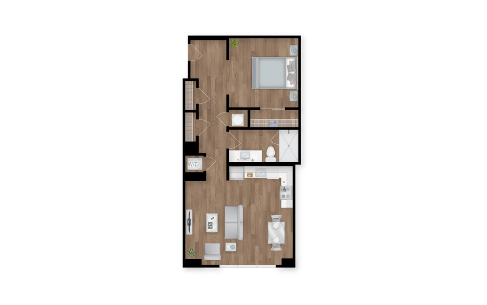 8 - 1 bedroom floorplan layout with 1 bath and 755 square feet.